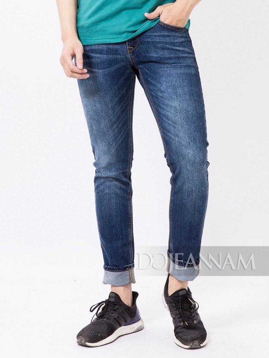 Quần jean nam Slim straight xanh cổ điển