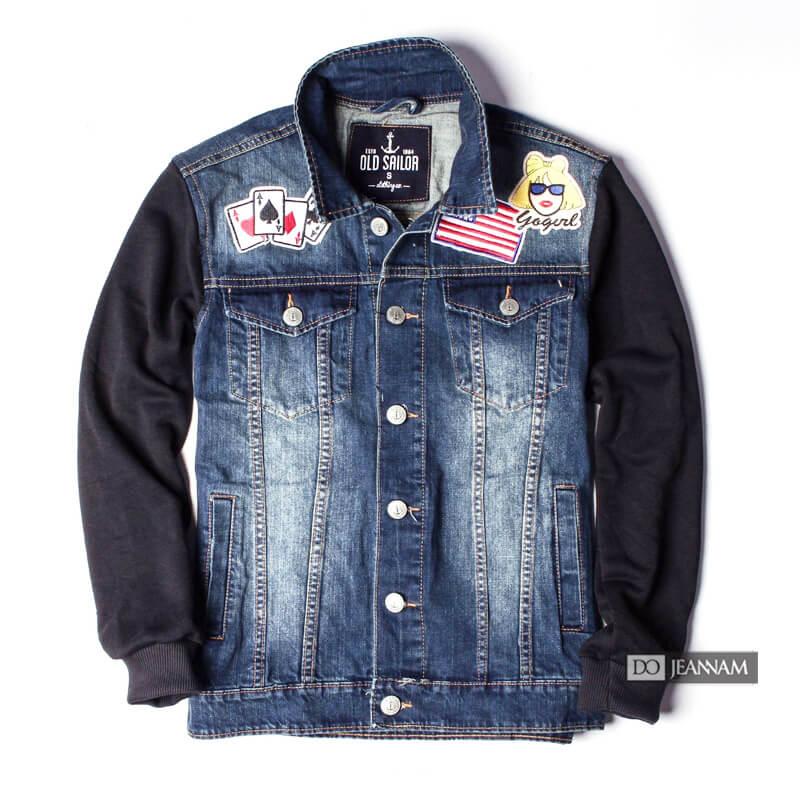 Áo khoác jean nam phối tay - xanh Jean