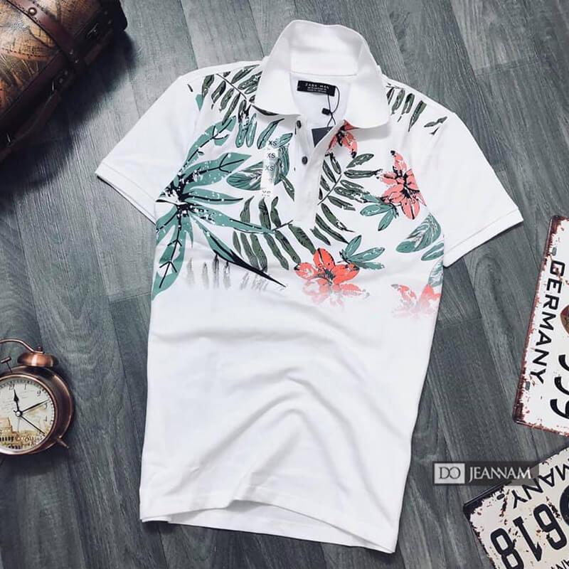 Áo thun polo nam trắng in họa tiết hoa
