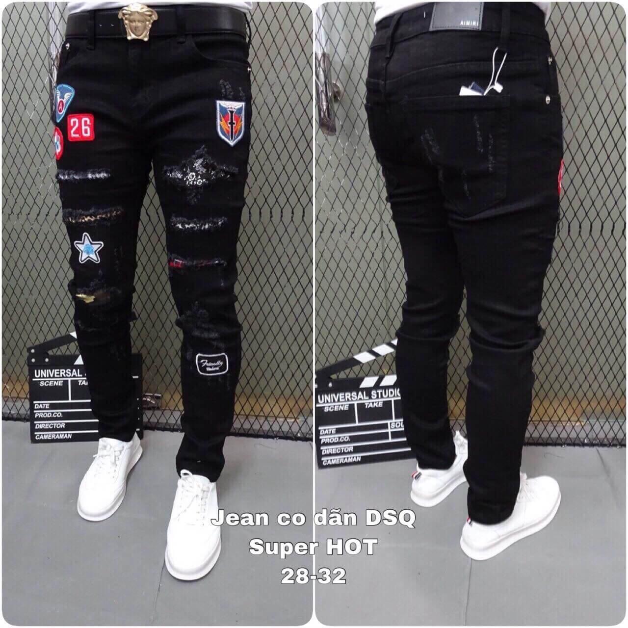 Quần jean nam đen rách thời trang 2019