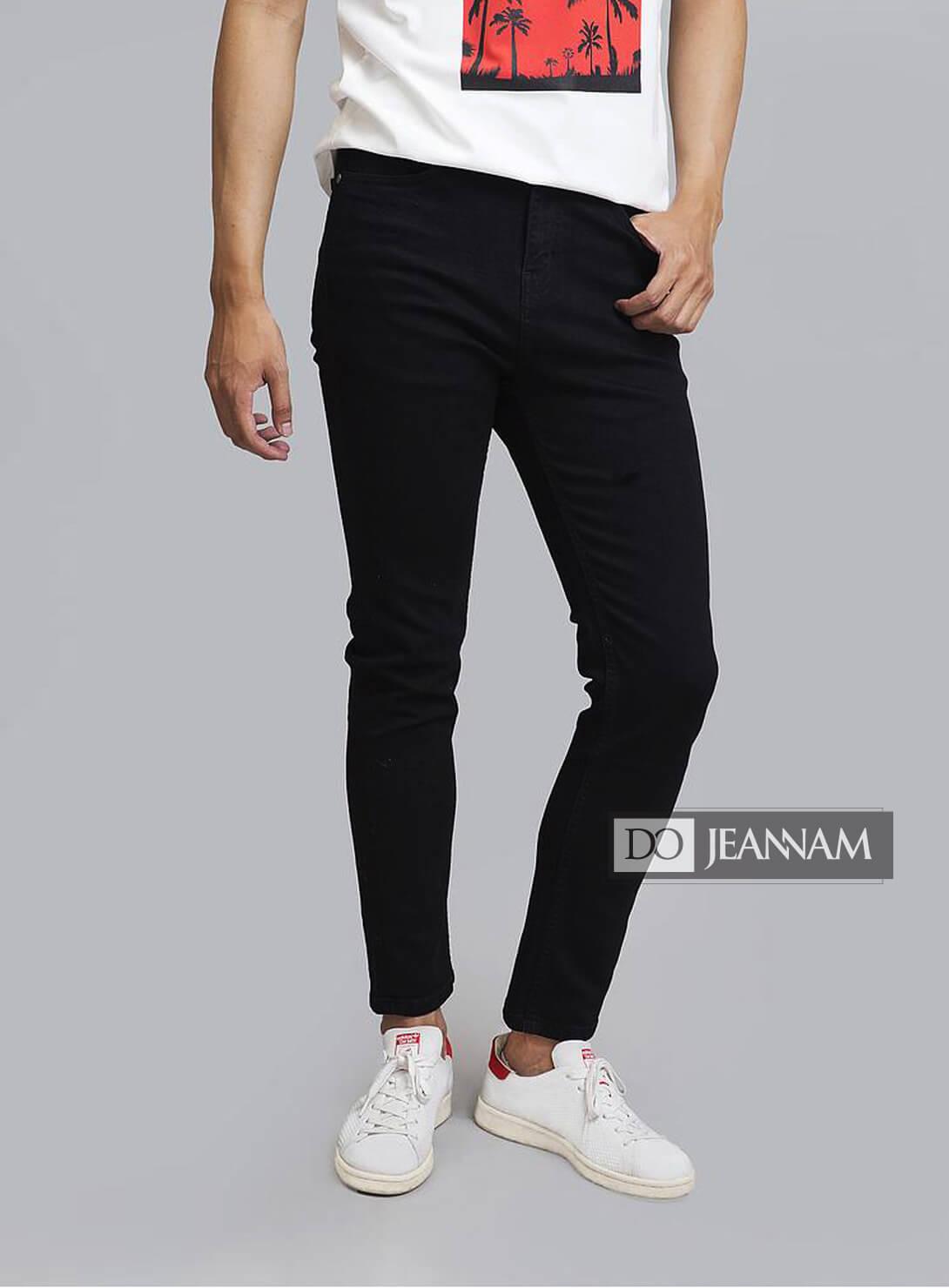 Quần jean nam đen trơn Skinny