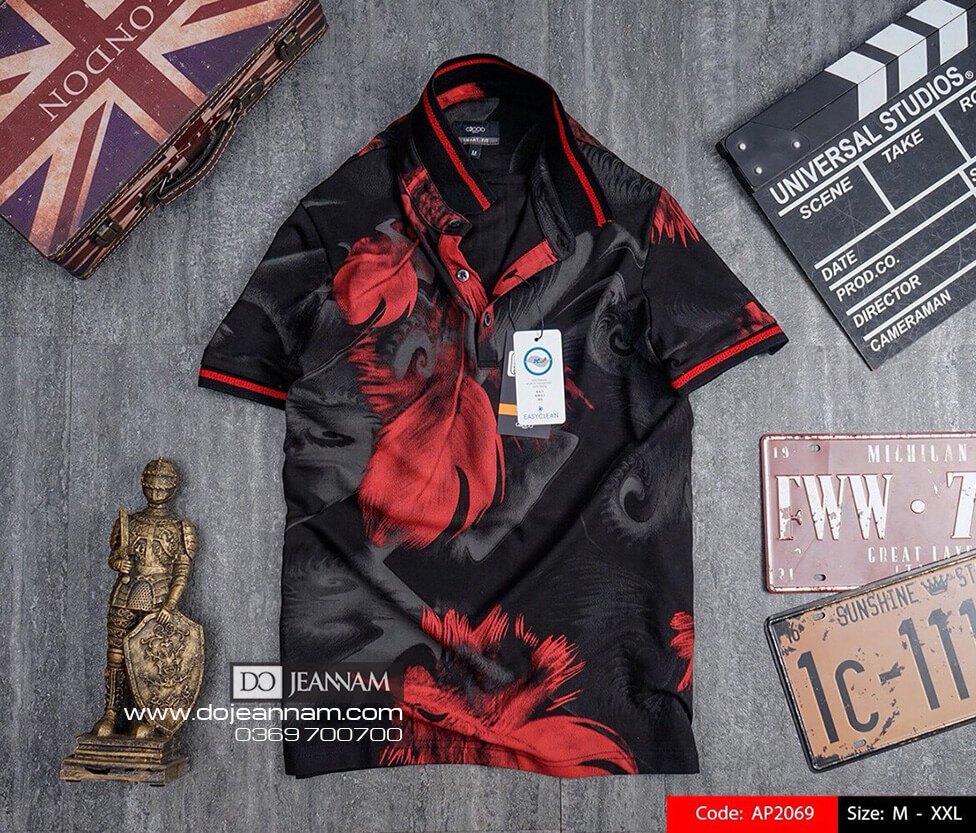 Áo thun nam hoạ tiết đỏ đen