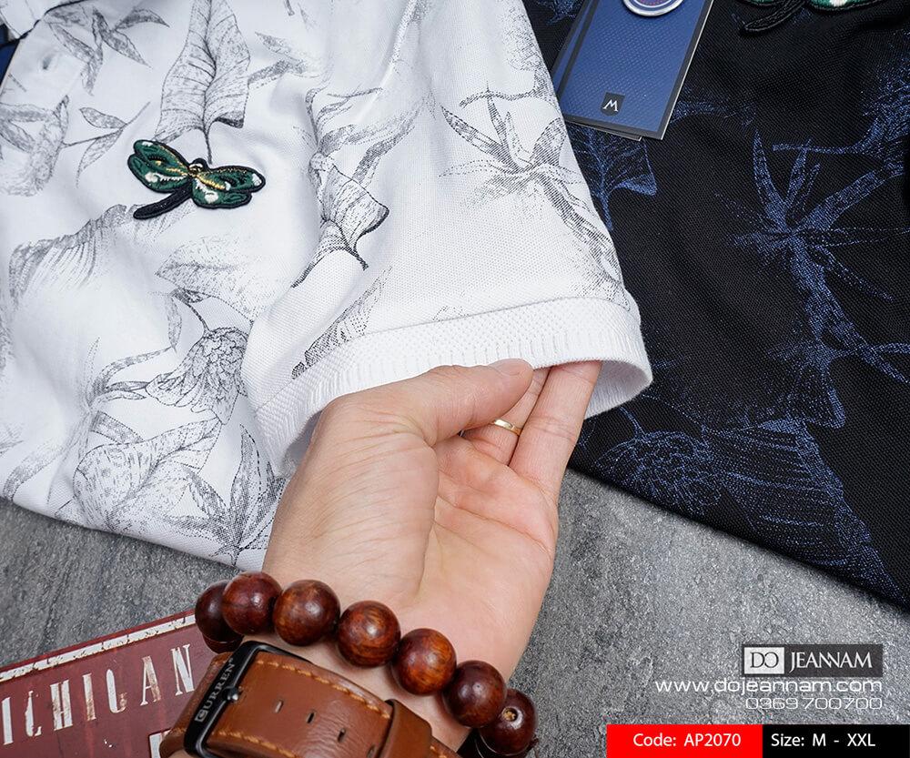 Áo thun Polo nam hoạ tiết trắng
