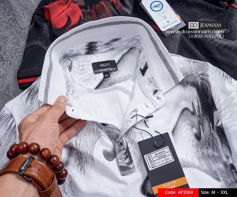 Áo thun Polo nam trắng in hoạ tiết