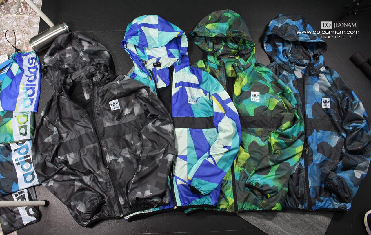 Áo khoác gió nam adidas xanh Coban