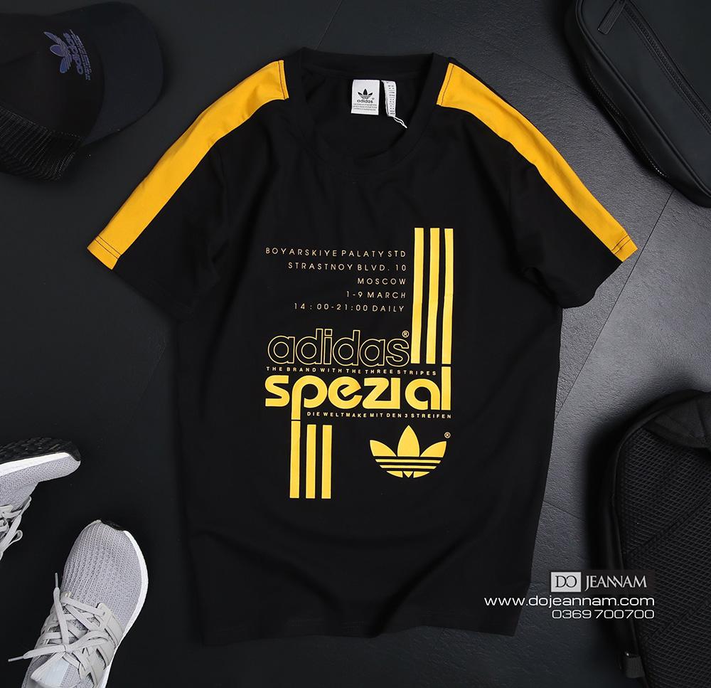 Áo phông nam Adidas đen vàng
