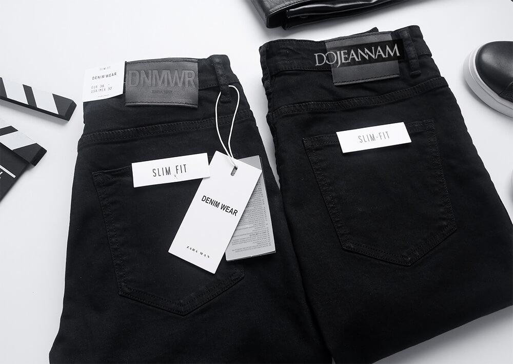 Quần jean nam đen rách gối Zara