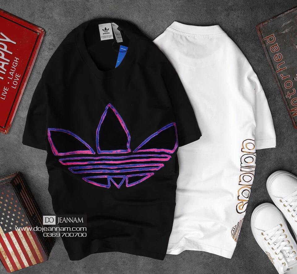 T-shirt Adidas đen 3 lá
