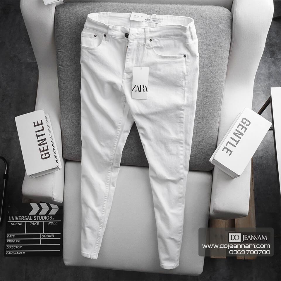 Quần Jean Nam Trắng Skinny Zara
